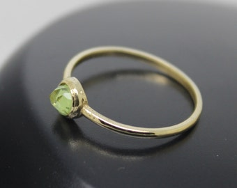 Peridot Ring, Rose Cut Peridot, 18k Solid Gold Ring, Thin Gold Ring, Stacking Ring, Stackable Ring, Solitaire Ring, August Birthstone