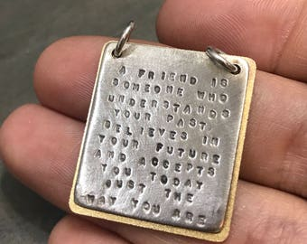 """Two tone Kathy Bransfield charm, sterling silver handmade pendant, solid 925 silver tree, embossed """"A friend is someone who understand your"""