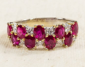Gorgeous 18K White Gold Natural 2.50ctw Ruby & Diamond Accented Anniversary Band Ring Size 7.25 - 5.2 grams FREE SHIPPING!