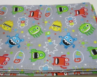 Baby Receiving Blanket, Swaddle Blanket, Little Monsters, 100 percent Cotton, 52x41, Lightweight, Bed Sheet, Throw, Bassinet, Stroller,Car