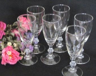 Vintage Wine Glasses Set of 6, Barware