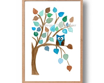 owl nursery art, art print Owl on a Tree, watercolor owl print, Baby shower, kids room, woodland art, Personalized art print, blue, aqua
