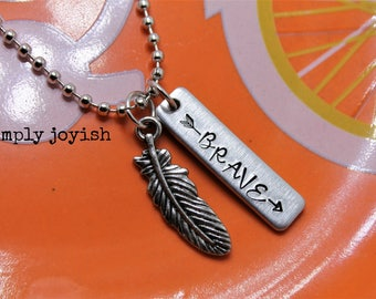 Brave Handstamped Pendant Necklace Encouragement Memorial Inspirational Survivor Motivational Overcome This Too Shall Pass Uplifitng Gift