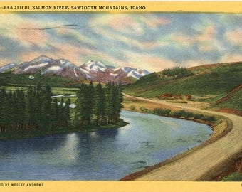 Salmon River Sawtooth Mountains Idaho Vintage Postcard 1949