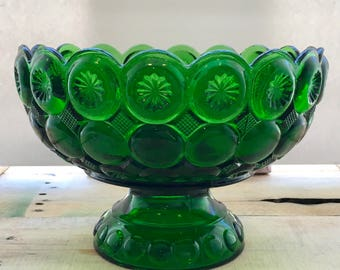 Vintage LE Smith Moon and Stars Green Pedestal Bowl