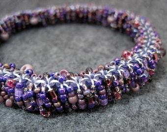 Beaded Bangle Bracelet  Purple by randomcreative on Etsy