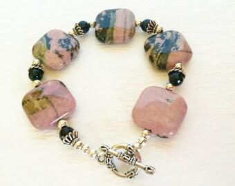 Pink and Black Rhodonite Black Onyx Bracelet