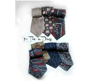 silk tie, vintage men's tie,  men's neck ties, silk necktie,  suit tie, gift for him, 7 Ties,      # 31