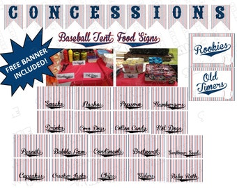 Baseball Party Food Signs and Concessions Banner 18 Food Signs Printable INSTANT DOWNLOAD  UPrint  by greenmelonstudios