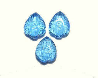 3 Pieces Very Beautiful Sky Blue Quartz Hand Carved Leaves Shaped Loose Gemstone Size 12X10 MM