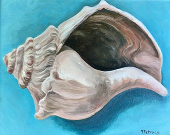 Seashell beach cottage chic painting, original oil and acrylic is ready to hang or gift