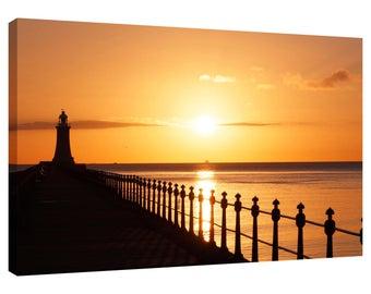 Canvas Wall Art Print Tynemouth Pier Lighthouse Sunrise River Tyne