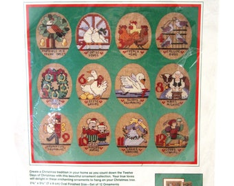Twelve Days of Christmas Ornaments Dimensions 8390 Counted CROSS STITCH KIT Sealed 1989 Vintage 1980s
