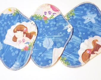 SET OF 3  Mermaid Sea Shell Printed Cotton . Reusable Cloth Mama Pads . 8 Inch FREE Shipping