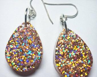 Apricot Glitter Glow Earrings