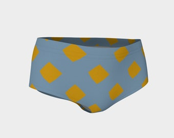 Blue and Gold Lattice Bikini Shorts