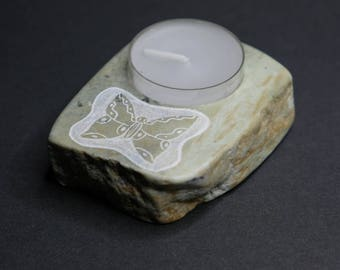Butterfly Soapstone tea light Holder/Canadian Handmade/Home Decor/Rustic/Natural