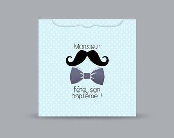 Faire part baptême thème moustache et étoiles / faire part naissance thème moustache et noed papillon / faire part gris noir et bleu