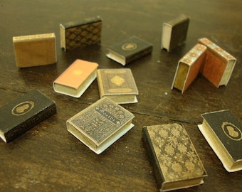 dollhouse ,miniature book,  package of assorted books. 10 pcs 1/12 scale