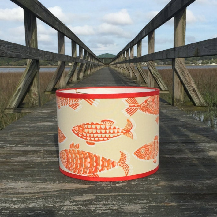 Large Drum Lamp Shade In Fun Tommy Bahama Orange Fish Fabric