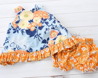Baby Outfit - Baby Pinafore - Baby Summer Dress - Pinafore Dress - Pinafore Set - Bloomers - Baby Girl Outfit - Baby Girl Bloomers