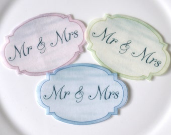 Edible Wedding Couples Pastel Ovals x 16 Mr & Mrs Wafer Paper Celebrations Cake Decorations Party Cupcake Toppers Cookies Favours Decor Blue
