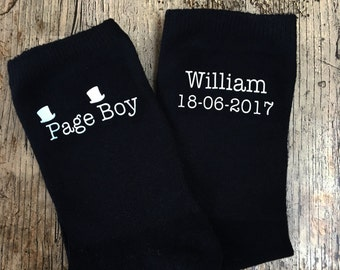 Page boy personalised wedding socks, boys wedding socks, childrens wedding socks, personalised wedding socks, cute wedding socks
