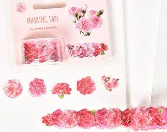 Carnation flowers sticker roll x 1