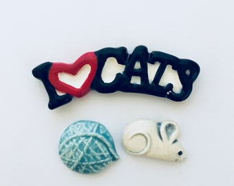 Mosaic Supply Ceramic I Love Cats Sign Tiles Mosaic Mouse Yarn Art Craft Supply Cat Lover Mosaic Art Ceramic Cat Art Ceramic Mosaic Tile