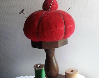 Vintage Strawberry Pincushion Thread Stand , 8 Spool Holder, Vintage Japan Sewing Collectible, Sewing Organizer, Vintage Pincushion