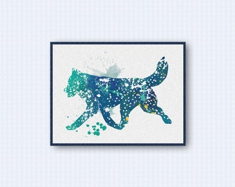 Siberian Husky Watercolor Poster