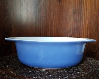 Vintage Pyrex 043 Midnight Bloom Milk Glass Casserole Dish