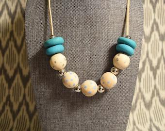 Blue polka dot necklace