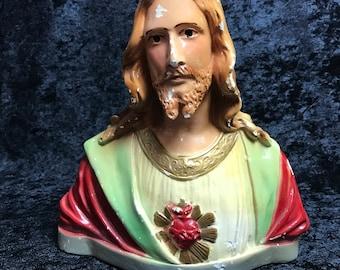 Jesus Chalkware Bust Vintage Religious Antique