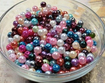 6mm Mix of Pearl Beads qty 300, Spacer Beads, Bracelet Making