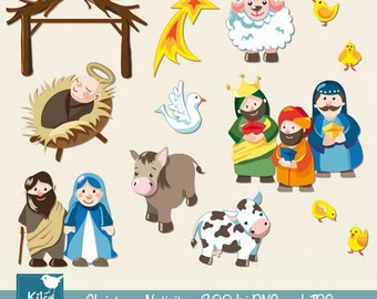 SALE Christmas Nativity - Digital Clipart / Scrapbook - card design, invitations, stickers, paper crafts, web design - INSTANT DOWNLOAD