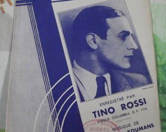 Vintage French song from 1935 Sheet Music - Carioca by Tino Rossi