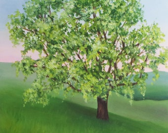 "Spring Oak Tree, Oil Painting on panel, 12"" x 12"""