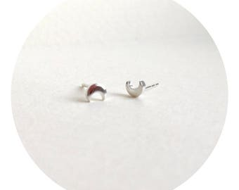 Sterling Silver Crescent Studs/ Crescent Moon Earrings / Minimalist / MINIMA Jewellery