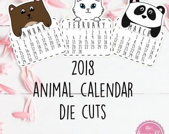 2018 Animal Calendar Die Cuts