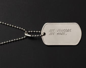 Either to Conquer or to Die Dog Tag Necklace - Stainless Steel necklace for me - Personalized Jewelry - Soldier Dog tags for Men - Men Gift