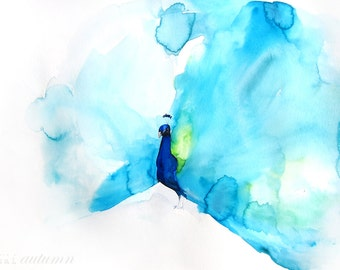 Watercolor Painting - Peacock Painting - Feather - Bird Wall Decor Watercolor - Peacock III - Large Print 24x30 - Poster