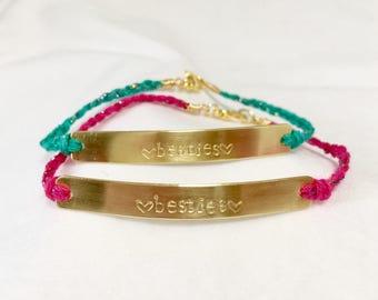 Stamped Friendship Bracelet Set / Besties Bracelet / Best Friends / Friendship Jewelry / Stamped Brass / Stamped Gold / Customizable Jewelry