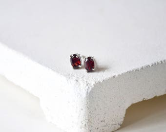 Handmade Garnet with sterling silver Stud Earring, January Birthstone, Ready to Ship