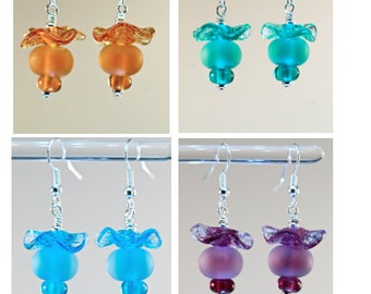 Special sale sterling silver dangle earrings seaglass style colorful lampwork glass handmade earrings set of 4 reduced price discount deal