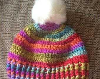 Pom Pom Crochet Adult Hat, Striped Hat, Boutique hat, Ski Hat, Winter Hat, Faux Fur PomPom, Adult Winter Hat, Multi Colored Hat, Adult Hat,