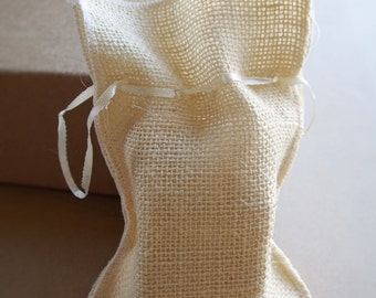 Sinamay Burlap Gift Bags with Satin Drawstrings, 4x7-inch, 12-pack, PSMCS7704NT