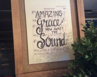 Amazing Grace | Hand Painted Sign | hymn