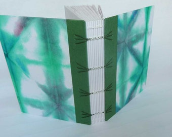 SALE + Free Shipping -- Handbound Journal with emerald green shibori cover