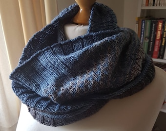 Handknit Cowl in Blue and Grey